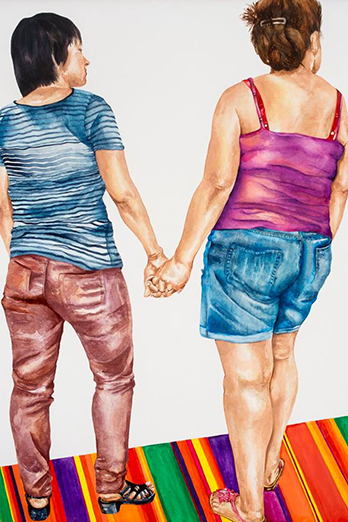 Painting of people holding hands