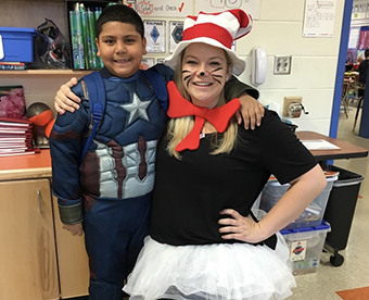 Student and teacher in Halloween costumes