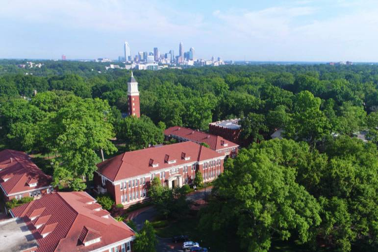 Drone view of campus and Uptown Charlotte