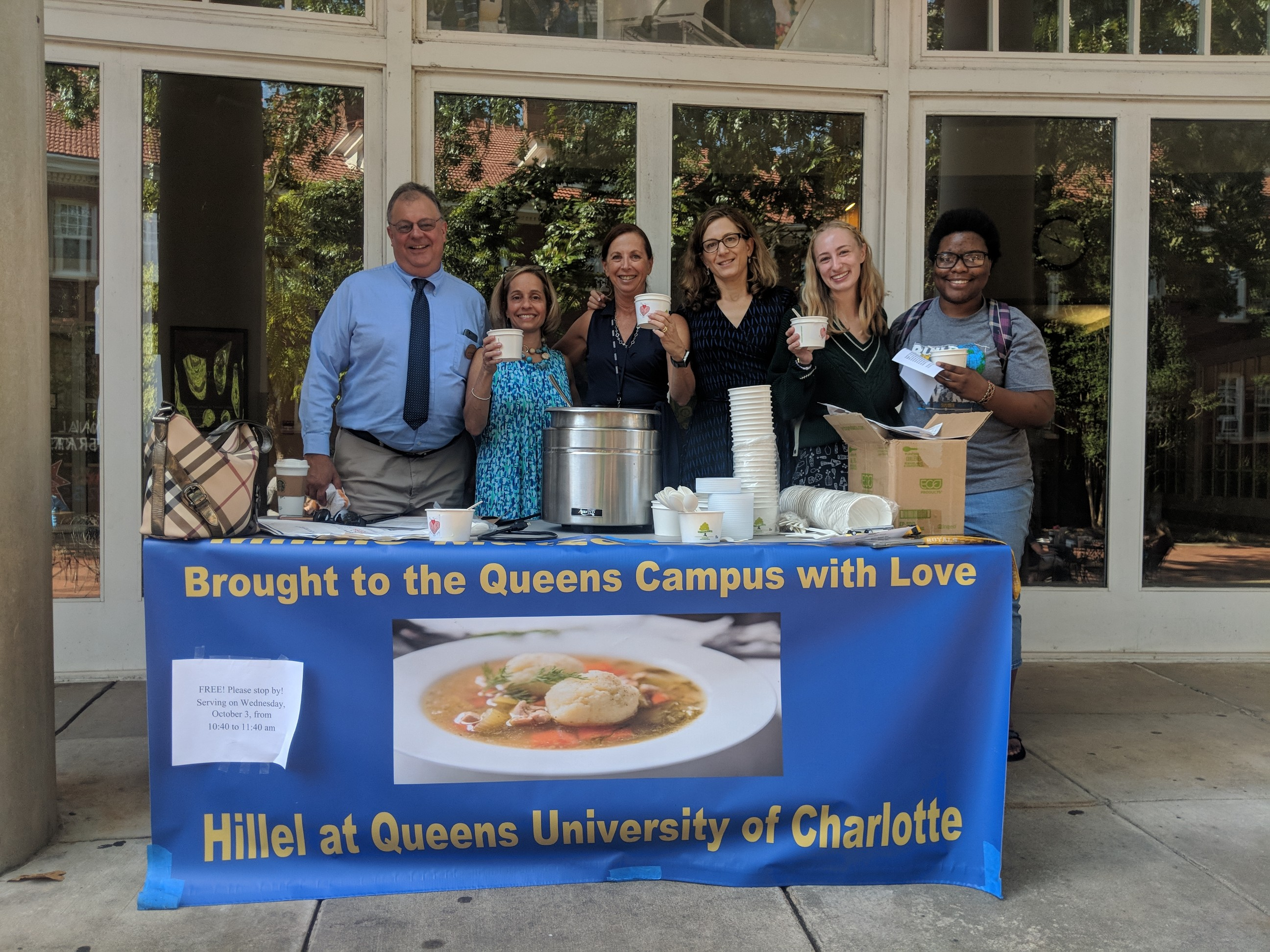 Giving free soup to students.