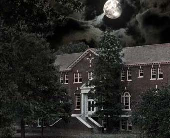 Morrison Hall with a full moon