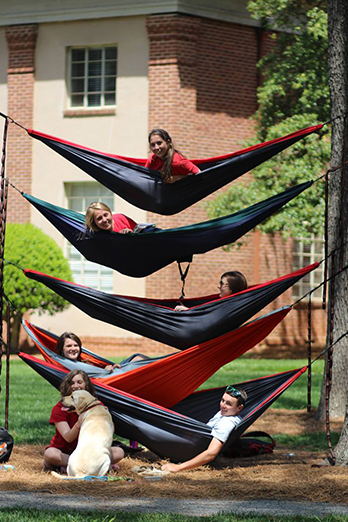 Students on hammocks in quad